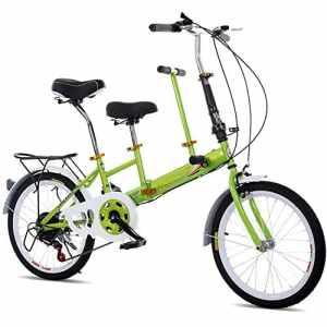20″Vélo Tandem Pliant Vélo De Famille 2 Seater 7 Vitesse Stable Cadre Solide Vert