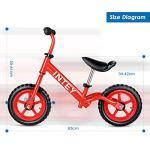 INTEY Draisienne Vélo pour Enfant Rouge, 12 Pouces sans pédale, Vélo pour Enfants Agés de 2 à 5 Ans, en Alliage d'Aluminium, Hauteur Réglable, Structure Anti-Vibrations