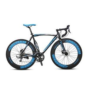 Extrbici XC700 Vélo de Route Pro 700Cx700MM Roue 54cm/56cm Cadre en Alliage léger en Aluminium 16 Vitesses Shimano 2400 Circuit Hardtail Mans Vélo de Route Freins à Disque mécaniques Doubles