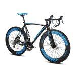 Bicyclette Extrbici XC700 Vélo de Route Cadre en Alliage léger en Aluminium 16 Vitesses Shimano 2400 Circuit Hardtail Mans Vélo de Route Freins à Disque mécaniques Doubles