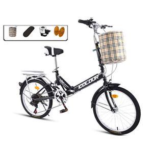 AOHMG 20 » vélo Pliant pour Adultes Léger, 7- Vitesses Cadre en Acier Compact Pliable Ville Unisexe vélo, avec Rack Fenders/arrière/Confort Selle,Black
