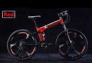 A&ZMYOU VTT/vélo Pliant à vélo 27/24 Vitesses 24 Pouces / 700CC Hommes et Femmes vélos Enfants vélo Double Frein à Disque (Color : Rouge, Taille : Six Spokes-Twenty One)
