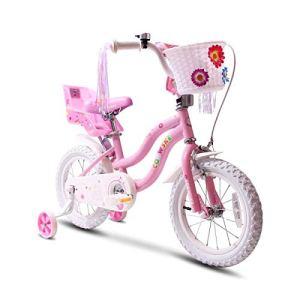 COEWSKE Vélo pour Enfants avec Cadre en Acier pour Enfants, Style Little Princess, 16 Pouces, avec Roue d'entraînement (Rose)