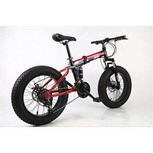 Dapang 20″Alliage Pliant Le vélo de Montagne de la Double Vitesse 4,0inch de Double de vélo de la Vitesse 27 de vélo de Montagne Peut Faire du vélo sur la Neige, Les Montagnes,etc,BlackRed