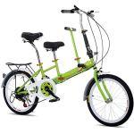 OUKANING Vélo Pliant de 20″, Vélo Tandem à 7 Vitesses pour Adultes et Enfants, Vélo Pliant en Acier au Carbone Parenting