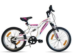Vélo Fille Flamingo ACTIMOVER-Cadre Fourche télescopique-6 Vitesses par poignée tournante VTT 20» Tout Suspendu, Blanc et Fushia