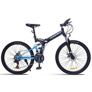 WJSW Vélo de Montagne 26″Unisexe avec Frein à Disque 24 Vitesses avec Cadre de 17″ Noir et Rouge, Bleu, 24″