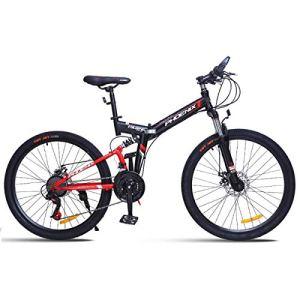 WJSW Vélo de Montagne 26″Unisexe avec Frein à Disque 24 Vitesses avec Cadre de 17″ Noir et Rouge, Rouge, 24″