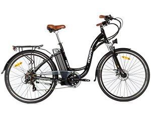 Moma Bikes Vélo Electrique VAE De Ville, E-28, Aluminium, Shimano 7V, Freins a Disque Bat. ION Lithium 36V 16Ah