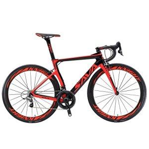 SAVADECK Velo de Route Carbone, Phantom 3.0 700C Vélo de Course Homme Fibre de Carbone Shimano Ultegra 8000 22-Vitesses Michelin 25C Pneus Selle Fi'zi: k Route (Rouge, 52cm)