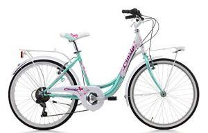 Cicli Cinzia Liberty – Vélo de Ville sans Vitesses pour Fille (20″), Freins V-Brake en Aluminium, Aigue-Marine/Blanc