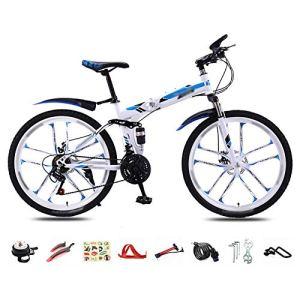 YRYBZ VTT 30-Vitesses – 26» Pliable Bicyclette pour Adulte – Pliant Vélo de Montagne – Double Freins a DisqueFreins – Bike pour Homme et Femme/Blue/B Wheel