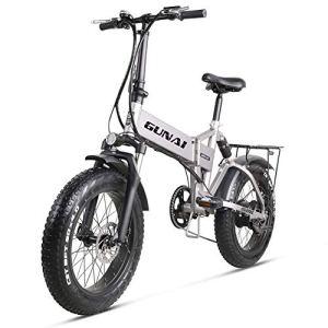 GUNAI Vélo électrique 500W 48V12.8Ah Li-Batterie Fat Bike 20 * 4.0 VTT Cadre en Alliage d'aluminium(Argent)