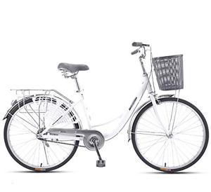 LIXIGB Vélo Urban Cruiser pour Femmes, 24/26 Pouces, 1 Vitesse / 3 Vitesses,White Single Speed,26inch