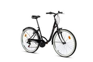 Moma Bikes Town Vélo de Ville 26″, Shimano 6V, Freins V-Brake Aluminium. Mixte Adulte, Noir, Unique