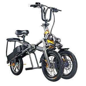 MSM Inversé Trois Roues Vélo électrique,Pliage Adultes Scooter VTT Pliant,Ramasser Les Enfants Pullable Portatif Parent-etnfant E-Bike Noir 30-40km,48v,30km/h