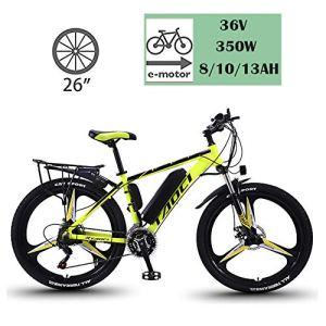 YMhome Vélos Électriques pour Adultes, en Alliage De Magnésium Ebikes Vélos Tout Terrain, 26″ 36V 350W Amovible Au Lithium-ION pour Hommes Montagne Ebike,Black Yellow,8AH