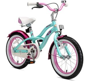 Bikestar Vélo enfant pour garcons et filles de 4-5 ans ★ Bicyclette enfant 16 pouces cruiser avec freins ★ Menthe