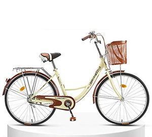 LIXIGB Autour du vélo Cruiser Femme avec Porte-Bagages arrière (24 Pouces, 26 Pouces),Beige 6 Speed (Good),24