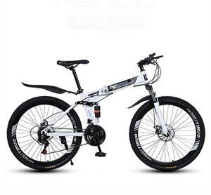 LJLYL Vélo de Montagne Pliable, VTT Tout Suspendu Cadre en Acier à Haute teneur en Carbone, Frein à Disque Double, pédales en PVC et poignées en Caoutchouc,Blanc,26 inch 21 Speed