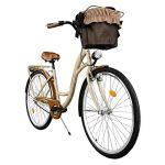 Milord. 2018 Vélo de Confort avec Panier, Byciclette, Vélo Femme, Vélo de ville, 1 Vitesse, Marron, 28 Pouces