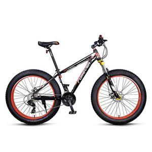 Mzq-yj Fat Tire VTT Hommes, 26 Pouces Adulte Neige vélo, vélo Double Frein à Disque Cruiser, Plage de vélos, 4.0 Roues Larges, 27 Vitesse,Noir