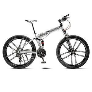tools BMX Dirt Vélos de Route VTT Vélo de Route VTT Pliant Homme 21 Vitesse 24/26 Pouces Roues for Adultes Femmes (Color : White, Size : 24in)