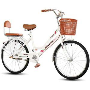 Vélos couchésFemmes Vélo, 22 24 Pouces Extérieur Vélos De Route Urbaine Cadre Haut Carbone Vélo Acier Néerlandais Style Classique Héritage Bikes Traditionnel Dames Blanches,22 inch