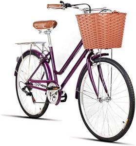 WOF Vélo de Ville for Dames – vélo de Loisirs à 6 Vitesses vélo de Ville Adulte léger de 26 Pouces avec Panier vélo de Banlieue for Dames