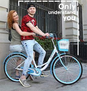 ZJDU Cadre De Vélo en Acier Au Carbone À Une Vitesse,Vélo Beach Cruiser À Une Vitesse,Vélo Classique,avec Panier,pour Seniors, Hommes Unisexe,Bleu,26 inch