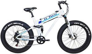 ZTBXQ Sports de Plein air vélo de Route de Ville de Banlieue 26″* 4.0 Gros Pneu vélo de Montagne électrique 350W / 500W Moteur 7 Vitesses Neige Avant Suspension arrière plm46