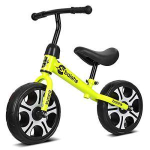 AMAZOM Poids Léger 12 Pouces Vélo D'équilibre Sportif Vélo D'équilibre Cadre en Acier Au Carbone Poignée Antidérapante, pour Les Enfants De 2 À 6 Ans,Jaune