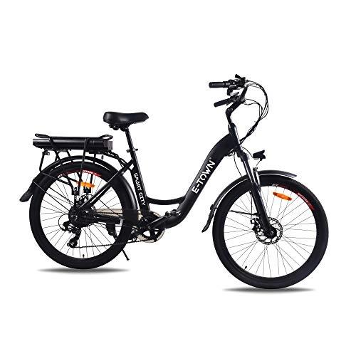 E-Town Smart City Vélo à Assistance électrique Adulte Unisexe, Noir