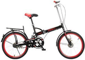 IMBM 20 Pouces vélo Pliant vélo Pliable Ville vélo Adulte Academica Banlieue de vélos entièrement assemblé vélo Shopper Vélo VTT Couleur: Noir