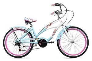 KS Cycling Beachcruiser 24 » Cherry Blossom 6 Vitesses Bleu-Rose TC 41 cm Vélo Fille, 41