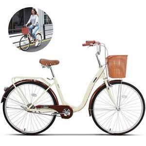LHY Vélos de Femmes, Cruiser étudiant vélo avec Panier, Traditionnel Classique Dames Mode de Vie Vélo Urbain Route Cycle Cadre 6 Vitesses motopropulseurs Alluminum Cadre, Entraînement,Beige,24Inch