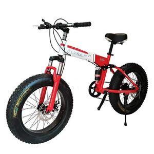 Logo ZWJ-JJ Vélo Pliant VTT 26 Pouces avec des Super-légers Cadre en Acier, Suspension Double vélo Pliant et 27 Vitesses Vitesse, Rouge, 7 Vitesses