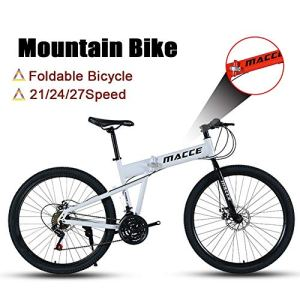 LYRWISHJD Vélo de montagne pour adulte, roues de 26 pouces, VTT pliable en acier à haute teneur en carbone, vélo à double freins à disque (couleur : blanc, taille : 21 vitesses)