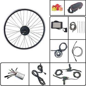 Schuck Kit de Conversion de vélo électrique avec écran LCD8H 36V/48V 350W Rayons et Jantes de Rotation de Roue arrière de vélo électrique (36V350W LCD8H 700C)