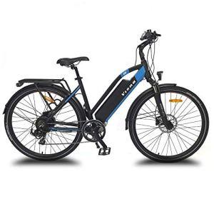 URBANBIKER vélo électrique VTC VIENA (Bleu 26″), Batterie Lithium-ION Samsung 840Wh (48V et 17,5Ah), Moteur 350W, 26 Pouces, Freins hydraulique Shimano.