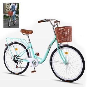 Vélos Lady, Femmes Traditionnel Classique Urbain vélo avec Panier Vintage vélo Classique vélo rétro vélo Lifestyle Cruiser vélo pour Adultes Les Jeunes étudiants,Bleu,24″