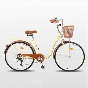 WOF 26 Pouces vélo vélo for Femmes vélo Adulte avec Panier Ultra léger Portable étudiant mâle vélo Confort Simple vélo Adulte Femmes Cruiser vélo Adulte Plage Cruiser vélo