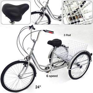 YIYIBY Séniors Vélo pour Adulte 3 Roues Cruiser 6 Vitesses 24″ 3 Roues Senior 3 Roues Pédales de vélo Cruiser Panier Pliable avec Panier Lumineux