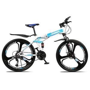 ZWJ-JJ Sports de plein air pliant de vélo de montagne, 26 pouces, 27 vitesses, vitesse variable, Freins à double disque, absorption des chocs, Offroad vélos, Adulte Hommes équitation en extérieur, Jau