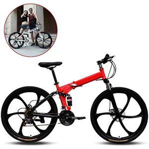 Legou Vélo Pliant,Vélo VTT Pliable, 26 Pouces, 21 Vitesse Variable, Hors-Route, Absorption des Chocs pour Homme, vélo en Plein air, équitation, Adulte/Blanc