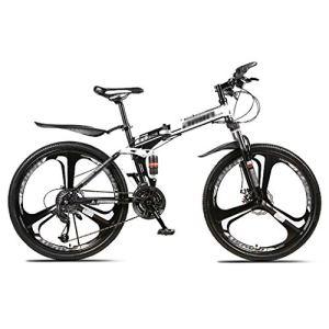 LWZ Vélo de Montagne 26 Pouces en Acier à Haute teneur en Carbone hydraulique Double Frein à Disque vélo Pliant VTT vélo de Piste 24 Vitesses