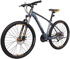 MKWEY 27,5 Pouces Adultes de VTT, Cadre Aluminium VTT Semi-Rigide avec des Freins à Double Disque, vélo VTT 27 Vitesses pour Hommes Femmes âgées Jeunes,Blue,16