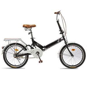 TXTC Vélo pliant pour femme avec porte-bagages, porte-bagages, plage Cruiser Bike High Carbon Cadre en acier, selle ergonomique, vélo croix, vélo pour pendule, camping carry, Métal, noir, Single speed