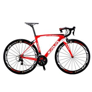 Vélos de Route Carbone, SAVA 700C Velo de Course Homme 22 Vitesses Shimano 105 5800 Group et Selle fizik Route (Rouge&Blanc, 540)