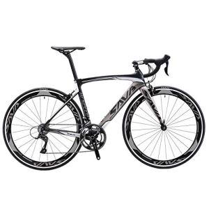 SAVA Vélo de Route Carbon, Homme de Course de vélos en Fibre de Carbone T800 avec Groupe Shimano 105 7000 22 Vitesses (Noir & Gris, 50cm)